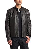 cheap -men's faux-leather moto jacket