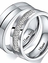 cheap -i love you i know silver titanium steel matching sets ring for couples eternity anniversary wedding band men size 10
