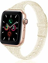 cheap -glitter slim silicone band compatible with apple watch 38mm 42mm 40mm 44mm, sparkly bling thin replacement wristband accessory for iwatch series 5/4/3/2/1 (glitter light gold, 38mm/40mm)