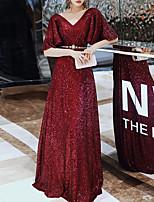 cheap -A-Line Elegant Sparkle Engagement Formal Evening Dress V Neck Half Sleeve Floor Length Sequined with Sash / Ribbon Sequin 2020