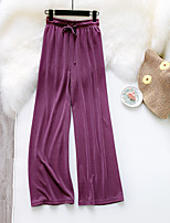 cheap -Women's Basic Streetwear Comfort Daily Going out Wide Leg Pants Pants Solid Colored Full Length Drawstring Black Purple Green