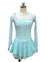 cheap -21Grams Figure Skating Dress Women's Girls' Ice Skating Dress Sky Blue Spandex High Elasticity Training Competition Skating Wear Crystal / Rhinestone Long Sleeve Ice Skating Figure Skating / Kids