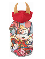 cheap -Dog Cat Coat Hoodie Cartoon Funny Casual / Daily Winter Dog Clothes Puppy Clothes Dog Outfits Breathable Red Costume for Girl and Boy Dog Cotton Polyster XS S M L XL XXL