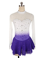 cheap -21Grams Figure Skating Dress Women's Girls' Ice Skating Dress Black Purple Pink Spandex High Elasticity Training Competition Skating Wear Crystal / Rhinestone Long Sleeve Ice Skating Figure Skating