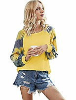 cheap -women casual long sleeve o-neck t-shirts color block blouses tie dye printed tops (yellow, m)