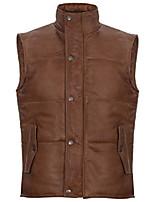 cheap -men's tan leather puffer padded vest waistcoat m