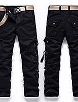 cheap -military army style pants men side zipper pockets cargo trouser train multi-pocket jogger tactical black 30