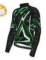 cheap -21Grams Men's Long Sleeve Cycling Jacket Winter Fleece Polyester Green Geometic Bike Jacket Top Mountain Bike MTB Road Bike Cycling Thermal Warm Fleece Lining Breathable Sports Clothing Apparel