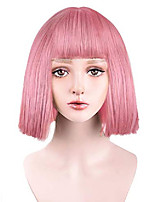 """cheap -12"""" short straight wig with bangs synthetic hair for white black women cosplay color: light pink"""