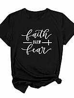 cheap -faith over fear t shirt women cotton short sleeve graphic tees for teen girls (black,xx-large)
