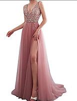 cheap -Women's Swing Dress Maxi long Dress - Sleeveless Solid Color Lace Sequins Zipper Summer Formal Elegant 2020 Blushing Pink S M L XL