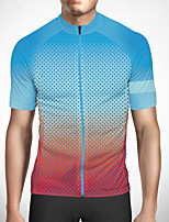 cheap -CAWANFLY Men's Short Sleeve Cycling Jersey Polyester Blue+Pink Gradient Bike Jersey Top Mountain Bike MTB Road Bike Cycling Quick Dry Reflective Strips Sweat-wicking Sports Clothing Apparel