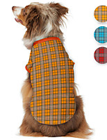 cheap -Dog Shirt / T-Shirt Plaid Printed Classic Cute British Casual / Daily Dog Clothes Puppy Clothes Dog Outfits Breathable Yellow Red Blue Costume for Girl and Boy Dog Polyster S M L XL