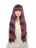 cheap -26inches long fluffy curly wavy taro purple wigs with air bangs for girls halloween cosplay