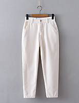cheap -Women's Basic Streetwear Comfort Daily Going out Pants Chinos Pants Solid Colored Full Length Pocket White Black Blushing Pink