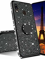 cheap -for samsung a20 case galaxy a30 case ultra-slim glitter bling diamond luxury plating silicon tpu soft cover with ring stand holder for samsung galaxy a20 / a30,black tpu with stand holder