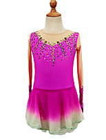 cheap -Figure Skating Dress Women's Girls' Ice Skating Dress Dark Pink Purple Blue Patchwork Asymmetric Hem Spandex High Elasticity Competition Skating Wear Crystal / Rhinestone Long Sleeve Ice Skating