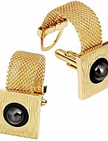 cheap -mens cufflinks with chain - stone and shiny gold tone shirt accessories - party gifts for young men (imitation pearl)