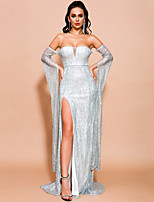 cheap -Sheath / Column Beautiful Back Sexy Prom Formal Evening Dress Off Shoulder Long Sleeve Sweep / Brush Train Spandex with Split 2020