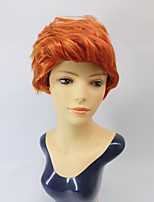 cheap -New Style Wig Ladies Fluffy Temperament Orange Red Short Curly Hair Middle-Aged And Elderly High-End Wig Sets