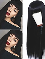cheap -hair long straight black wig heat resistant synthetic wigs with bangs natural looking hair full machine made wig for women(24 inches)