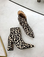 cheap -Women's Boots Chunky Heel Pointed Toe Booties Ankle Boots Party & Evening Home PU Leopard Gold Silver / Booties / Ankle Boots / Booties / Ankle Boots