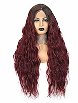 cheap -burgundy red lace front wigs 24'' deep wave long synthetic wigs for black women 130% density wigs