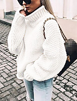 cheap -Women's Stylish Knitted Solid Color Pullover Cotton Long Sleeve Sweater Cardigans Turtleneck Fall Winter White Black Purple
