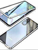cheap -umtiti compatible samsung galaxy s20 (6.2 inch 2020) case, magnetic adsorption metal frame clear tempered glass back cover with built-in magnet flip with a lens protector (silver)