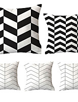 cheap -Cushion Cover 5PCS Linen Soft Decoration Square Throw Pillowcase Cushion Cover Sofa Box Pillowcase 45 x 45 Cm 18 x 18 Inches High Quality Washable Black And White Geometric Pattern Short Fluff