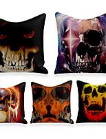 cheap -Cushion Cover 4PCS Linen Soft Decorative Square Throw Pillow Cover Cushion Case Pillowcasefor Sofa Bedroom 45 x 45 cm (18 x 18 Inch) Superior Quality Mashine Washable Skeleton Fantasy