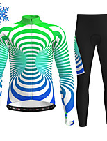 cheap -21Grams Men's Long Sleeve Cycling Jersey with Tights Winter Fleece Polyester Red Green Bike Clothing Suit Thermal Warm Fleece Lining Breathable 3D Pad Warm Sports Graphic Mountain Bike MTB Road Bike