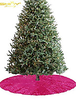 cheap -christmas tree skirt 24'' tree skirt hot pink round sequin tree skirt xams mini tree skirt glitter christmas decorations tree skirts for christmas halloween wedding party holiday (24'', hotpink)
