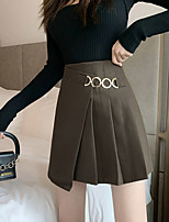 cheap -Women's Causal Daily Active Streetwear Skirts Solid Colored Pleated Black Brown