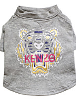 cheap -Dog T-shirts Tiger Fashion Cute Casual / Daily Winter Dog Clothes Puppy Clothes Dog Outfits Breathable Gray Costume for Girl and Boy Dog Cotton S M L