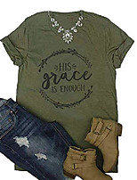 cheap -his grace is enough shirt christian faith shirt cute graphic letter print short sleeve casual tops tee t shirt size s (army green)