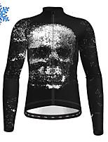 cheap -21Grams Men's Long Sleeve Cycling Jersey Winter Fleece Polyester Black Skull Bike Jersey Top Mountain Bike MTB Road Bike Cycling Fleece Lining Warm Quick Dry Sports Clothing Apparel / Stretchy