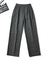 cheap -Women's Sporty Basic Comfort Daily Going out Wide Leg Pants Pants Plaid Checkered Full Length Pocket Khaki Dark Gray