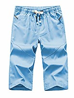 cheap -men's cropped shorts summer micro-elastic solid color large size loose shorts men's casual shorts