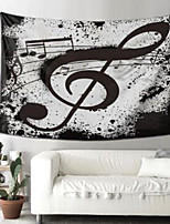 cheap -Wall Tapestry Art Deco Blanket Curtain Picnic Table Cloth Hanging Home Bedroom Living Room Dormitory Decoration Polyester Fiber Still Life Black And White Musical Notes