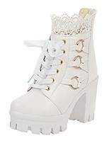 cheap -women's sweet lolita ankle boots fashion thick high heel lace up ankle boots platform lace student shoes white