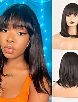 cheap -Cosplay Costume Wig Synthetic Wig Wavy Natural Straight Bob Middle Part Neat Bang Wig Short Natural Black #1B Synthetic Hair Women's Odor Free Fashionable Design Soft Black / Heat Resistant