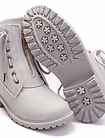 cheap -women's work combat boots lace up low heel work boots round toe waterproof ankle booties size 8 light grey