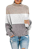 cheap -turtleneck sweaters oversized chunky batwing long sleeve pullover loose knitted jumper top(color block khaki,m)