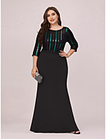 cheap -Mermaid / Trumpet Vintage Plus Size Party Wear Formal Evening Dress Jewel Neck 3/4 Length Sleeve Floor Length Jersey with Sequin 2020