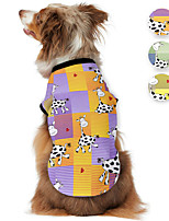 cheap -Dog Shirt / T-Shirt Animal Milk Cows Printed Cute Casual / Daily Dog Clothes Puppy Clothes Dog Outfits Breathable Purple Yellow Blue Costume for Girl and Boy Dog Polyster S M L XL