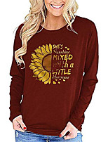 cheap -womens sunflower long sleeve t shirts graphic letter print loose cotton cute blouses tops tee (wine red,medium)