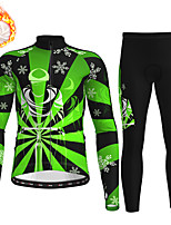 cheap -21Grams Men's Long Sleeve Cycling Jersey with Tights Winter Fleece Polyester Red Blue Green Christmas Santa Claus Bike Clothing Suit Thermal Warm Fleece Lining Breathable 3D Pad Warm Sports Graphic