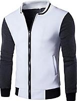 cheap -men's slim fit splicing baseball jacket large white 2