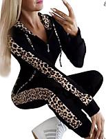 cheap -Women's Set Leopard Print Hoodie Sport Athleisure Hoodie Pants Long Sleeve Comfortable Everyday Use Casual / Winter / 2pcs / pack